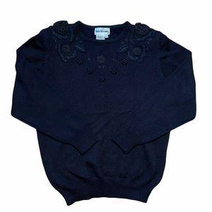 Lara Ferrante Vintage Embroidered Sequin Sweater L
